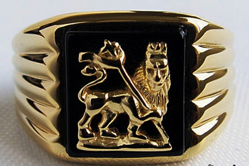Bague Lion of Judah Plaqué Or 24k