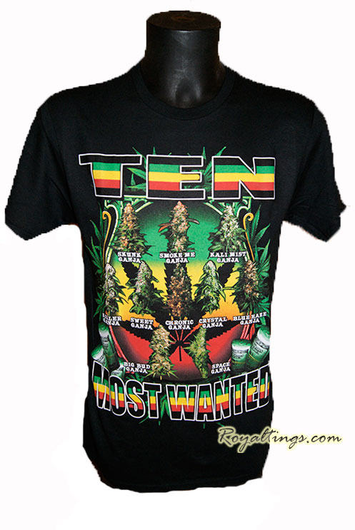 Tee shirt Ten Most Wanted weed